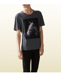 Gucci Cotton Jersey T-shirt with Flora Horse Print - Lyst