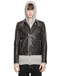 Diesel Studded Smooth Leather Jacket - Lyst