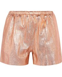 RED Valentino Metallic Leather Shorts - Lyst