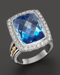 Lagos 18K Gold And Sterling Silver Prism Blue Topaz Statement Ring With Diamonds - Lyst
