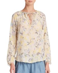 Rebecca Taylor Aloha Tie-Front Silk Blouse floral - Lyst