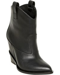 Giuseppe Zanotti 90Mm Plain Leather Wedged Boots - Lyst