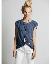 Free People Destroyed Muscle Tee - Lyst