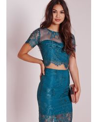 Missguided - Crop Lace Top Teal - Lyst