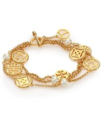 Tory Burch Charm & Faux Pearl Triple-Strand Station Bracelet gold - Lyst