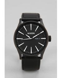Nixon Sentry Leather Watch - Lyst