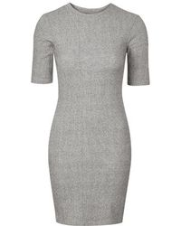 Topshop Ribbed Mini Bodycon Dress - Lyst
