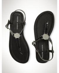 Ralph Lauren Sueanne Patent Leather Sandal - Lyst