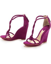 B Brian Atwood Priscilla Twist Strap Wedge Sandals - Lyst