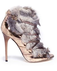 Jimmy Choo Locke Rabbit Fur Metallic Leather Booties - Lyst