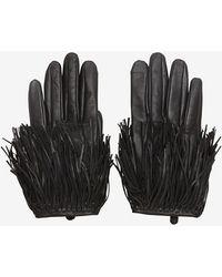 Exclusive For Intermix Fringe Gloves Black - Lyst