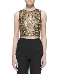 Michael Kors Pebbled Studded Cropped Shell - Lyst
