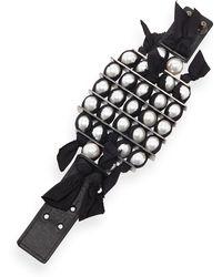 Lanvin Black Grosgrain Pearly Bracelet - Lyst
