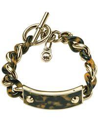 Michael Kors Tortoise Plaque and Goldtone Chainlink Bracelet - Lyst