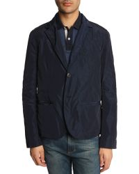 Tommy Hilfiger Navy Jacket With Removable Bib Front - Lyst
