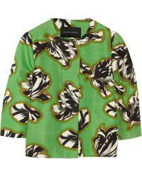 Jonathan Saunders | Tilly Cropped Tulip-Print Slub Cotton-Blend Jacket | Lyst