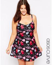 Asos Curve Exclusive Swim Dress In Grafitti Heart Print - Lyst