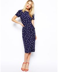 Asos Pencil Dress in Spot with Waterfall Skirt - Lyst