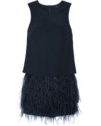 Tibi Cera Tuxedo Feather Trim Dress - Lyst