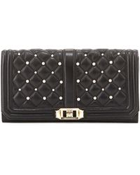 Rebecca Minkoff Love Pearly Quilted Turnlock Clutch Bag Black Blk - Lyst