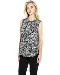 Vince Camuto Animal Center Pleat Blouse - Lyst