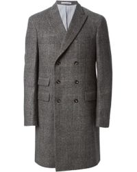 Michael Bastian - Check Pattern Double Breasted Coat - Lyst