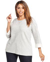 Jones New York Signature Plus Size Striped Sweatshirt - Lyst