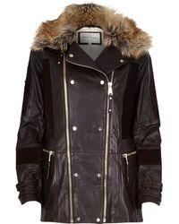 River Island Dark Brown Leather and Ponyskin Jacket - Lyst
