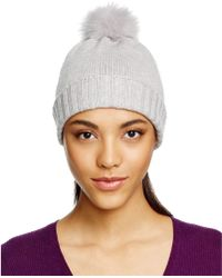 Bettina - Cashmere Beanie With Fox Fur Pom-pom - Lyst