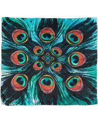 Weston | Red Peacock Feather Eye Silk Scarf | Lyst