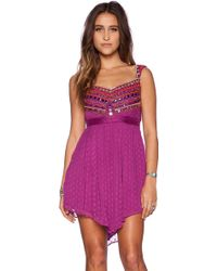 Free People Jeweled Chevron Mini Dress - Lyst