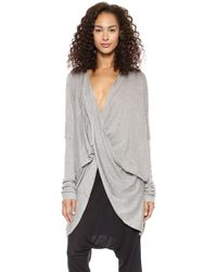 Just Female Twist Knit Cardigan Grey Melange - Lyst