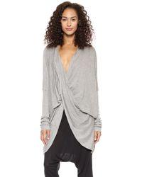 Just Female Twist Knit Cardigan Grey Melange - Lyst