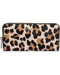 Michael Kors Jet Set Travel Leopard Hair Calf Wallet - Lyst