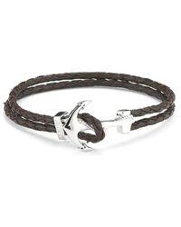 Mateo Bijoux - Anchor Leather Bracelet - White Rhodium Over Brass/ Dark Brown Leather - Lyst