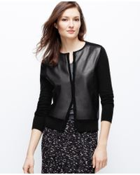 Ann Taylor Faux Leather Front Ann Cardigan - Lyst