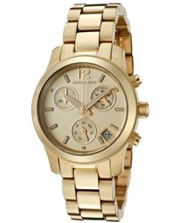 Michael Kors Womens Chronograph Gold Dial Gold Tone Ion Plated Stainless Steel - Lyst
