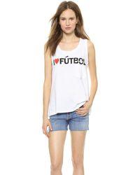 Textile Elizabeth And James I Heart Futbol Dean Tank Whiteblackred - Lyst