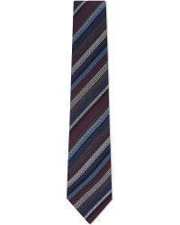 Etro Textured Stripe Woolsilk Tie Blue - Lyst
