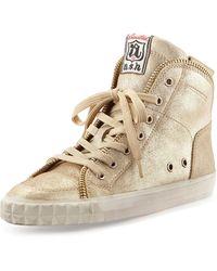 Ash Shake Zipdetailed Shimmer Wedge Sneaker - Lyst