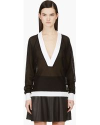 Balmain Black and White Knit Mesh Side_snap Cardigan - Lyst