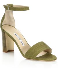 Manolo Blahnik | Lauratopri Suede Mid-heel Sandals | Lyst