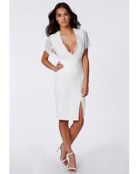 Missguided Claudia Lace Open Back Midi Dress Ivory - Lyst