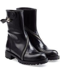 Alexander McQueen Zipped Leather Biker Boots - Lyst