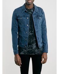 Topman Petrol Blue Stretch Skinny Fit Denim Western Jacket - Lyst