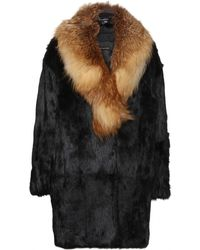Inès & Maréchal Viking Rabbit Fur Coat with Fox Fur Collar - Lyst