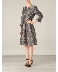 Oscar de la Renta Feather Print Aline Dress - Lyst