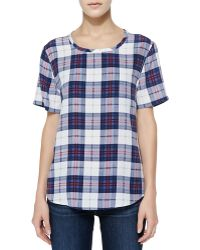 Equipment Riley Scoopneck Plaid Tee - Lyst