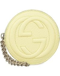 Gucci Logo Leather Wristlet Purse - Lyst