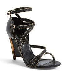 Lanvin Chain Embellished Leather Wedge Sandal - Lyst
